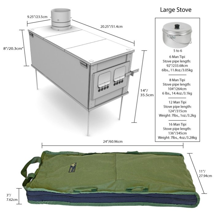 Box Stoves (Stainless Steel) Large Stove Spec Sheet for All Angles Including Container Bag