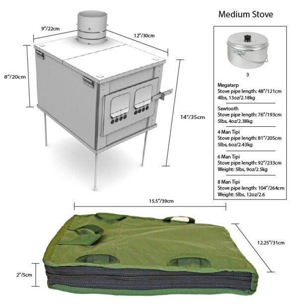 Box Stoves (Stainless Steel) Medium Stove Spec Sheet from All Angles Including Container Bag