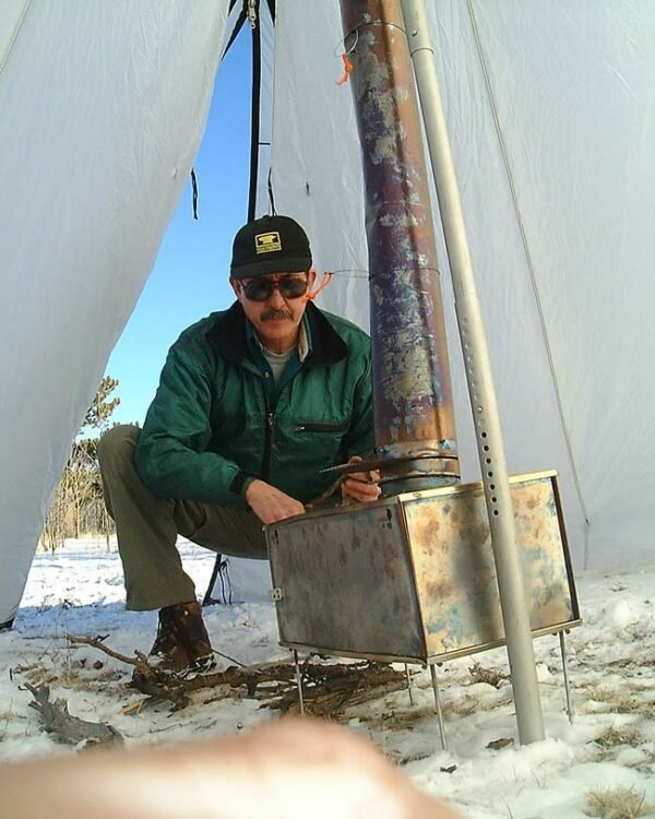 Box Stoves (Stainless Steel) with Patrick Smith Setting Up the Stove Inside Tent
