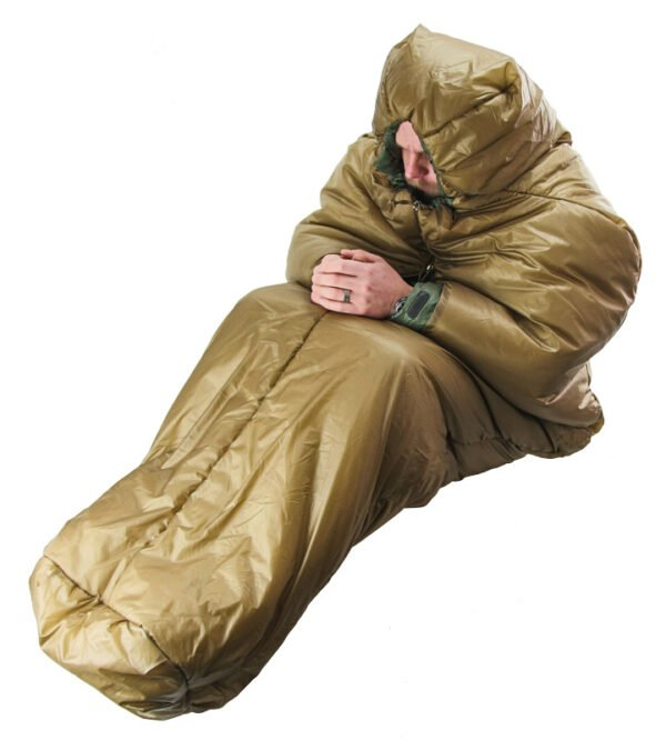 Slick Bag with Person Inside with Their Knees Towards the Chest to Stay Warm