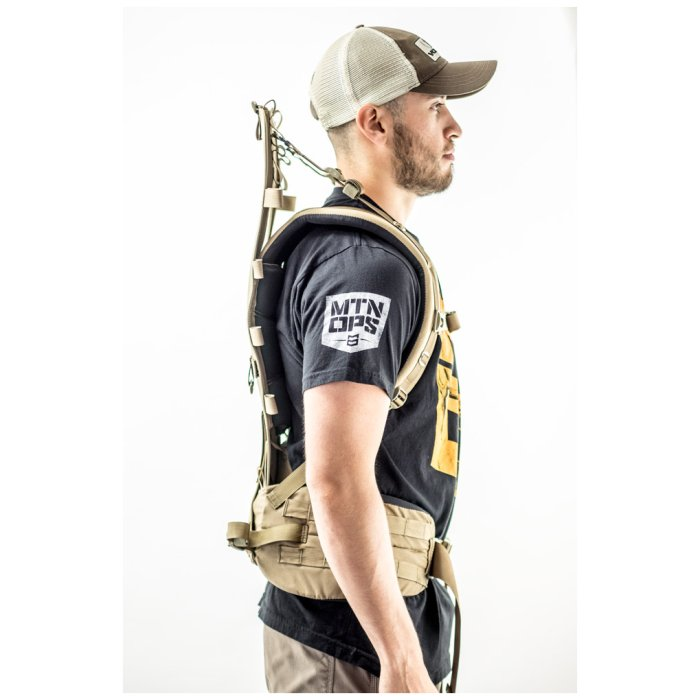 Tactical Platform Frame And Suspension (Newplex SS) Coyote Brown Color Being Worn by Person with Long Shoulder Strap