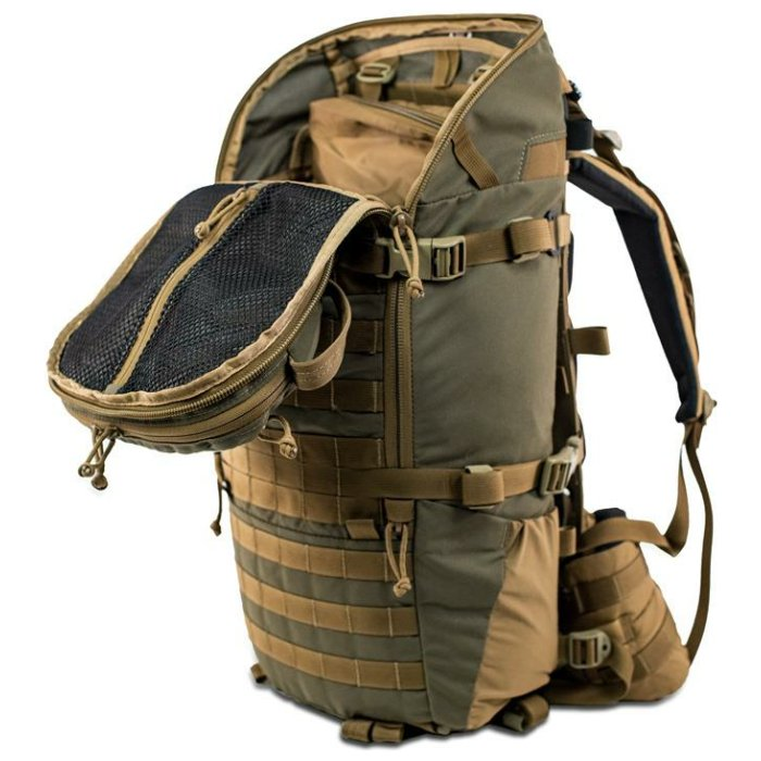 22 MAG Gen 2 (2,200ci-36 liter Bag Only) Diagonal Photo of Ranger Green Color with Main Zipper Open and Inside Visible