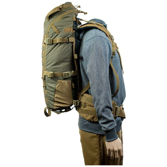 22 MAG Gen 2 (2,200ci-36 liter Bag Only) Side View Photo of Ranger Green Color Being Worn on Mannequin