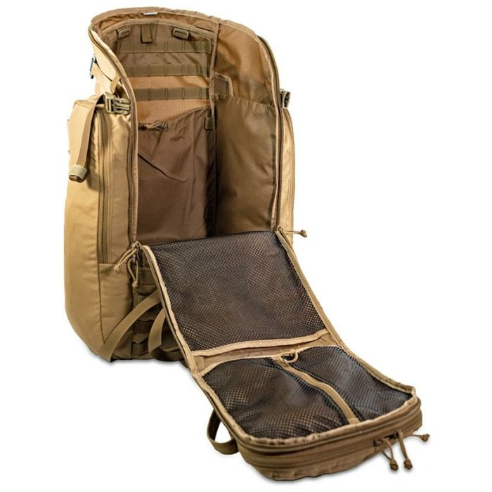 44 Mag (4,400 ci - 72 L Bag only) Frontal Diagonal Photo of Coyote Brown Color with Main Zipper Fully Open