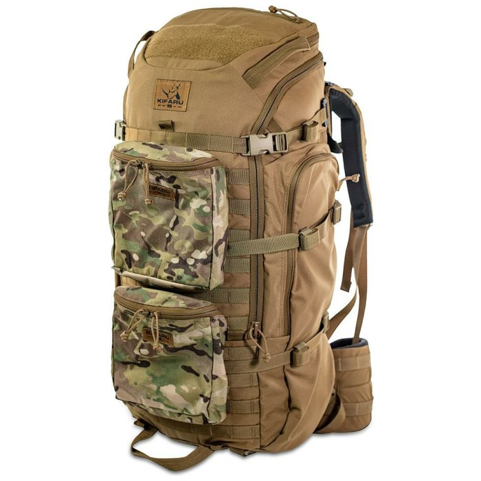44 Mag (4,400 ci - 72 L Bag only) Frontal Photo of Coyote Brown Color with Two Small Multicam Bag in Front
