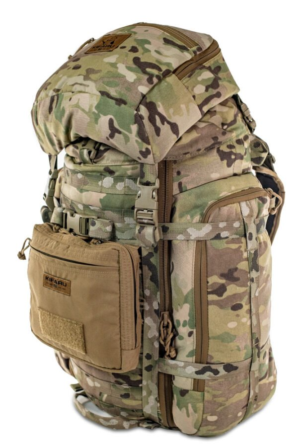 500D Organizer Pocket Frontal Photo of Coyote Brown Color Being Worn on Multicam Pack