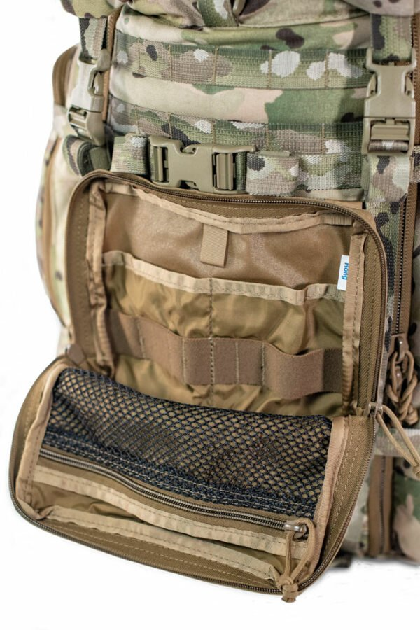 500D Organizer Pocket Frontal Photo of Coyote Brown Color with Front Zipper Open and Interior Netting Visible