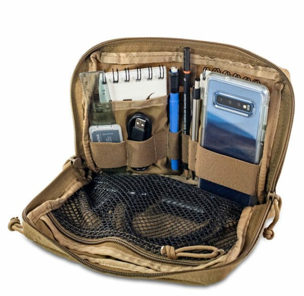 500D Organizer Pocket Frontal Photo of Coyote Brown Color with Notebooks - cables- pencils packed inside