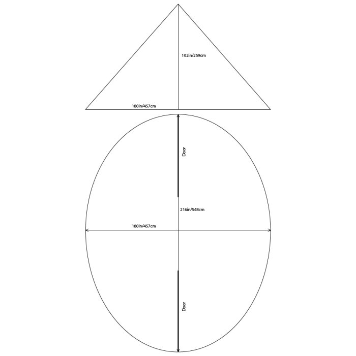 8 Man Tipi Dimensions on Simple Diagram