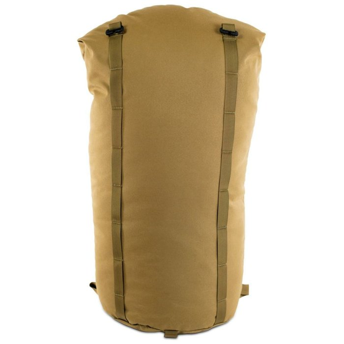 Camp Bag (3,700ci - 60.6 Liters) Back Photo of Coyote Brown Color with Top Closed and Strapped