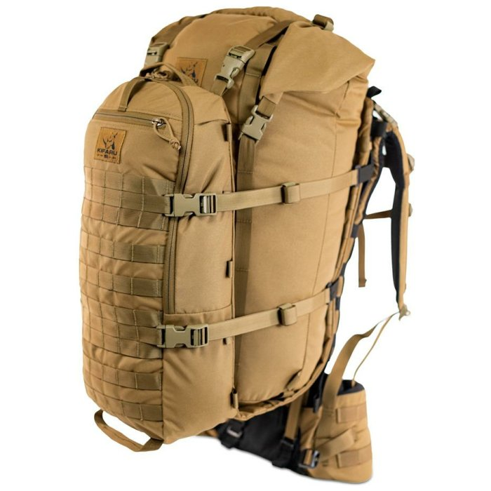Camp Bag (3,700ci - 60.6 Liters) Diagonal Photo of Coyote Brown Color Attached