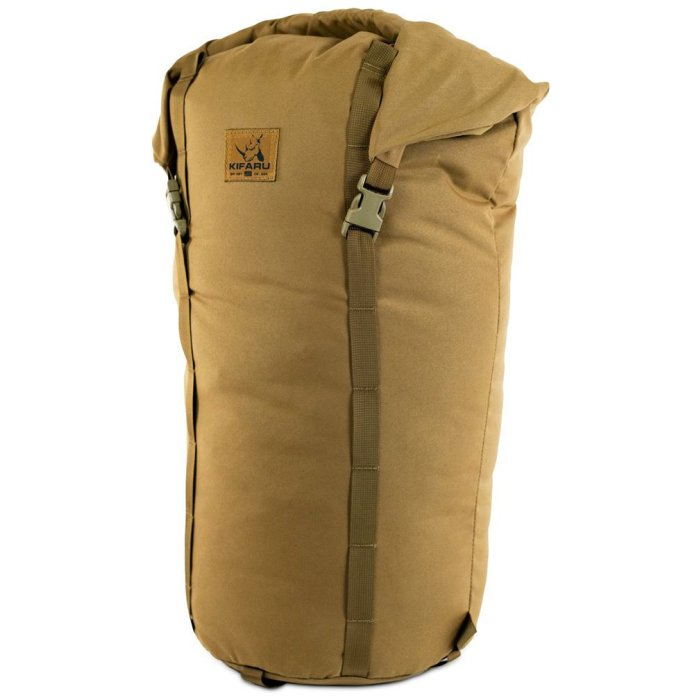 Camp Bag (3,700ci - 60.6 Liters) Frontal Photo of Coyote Brown Color with Top Closed and Strapped