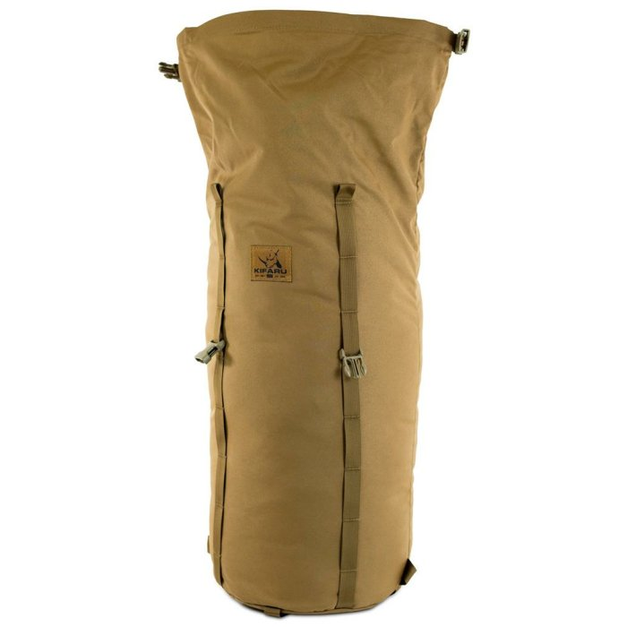 Camp Bag (3,700ci - 60.6 Liters) Frontal Photo of Coyote Brown Color with Top Open