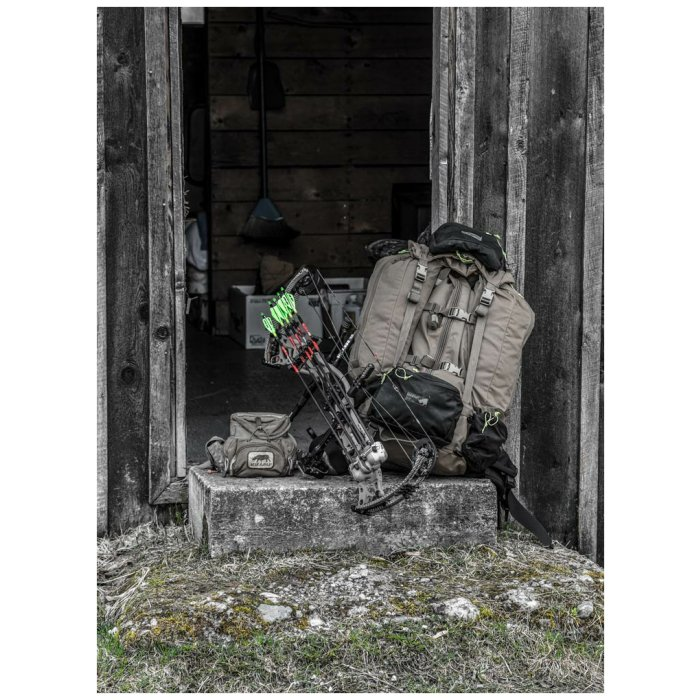 Fulcrum (29.5 Liters - 128 Liters Bag Only) Photo of Bag Sitting at Door next to Bow