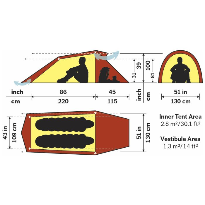 Hilleberg Nallo 2 Sand Spec Sheet with Dimensions in Centimeters and Inches
