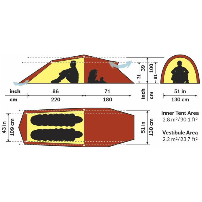 Hilleberg Nallo 2GT Sand Spec Sheet with Diagrams and Dimensions