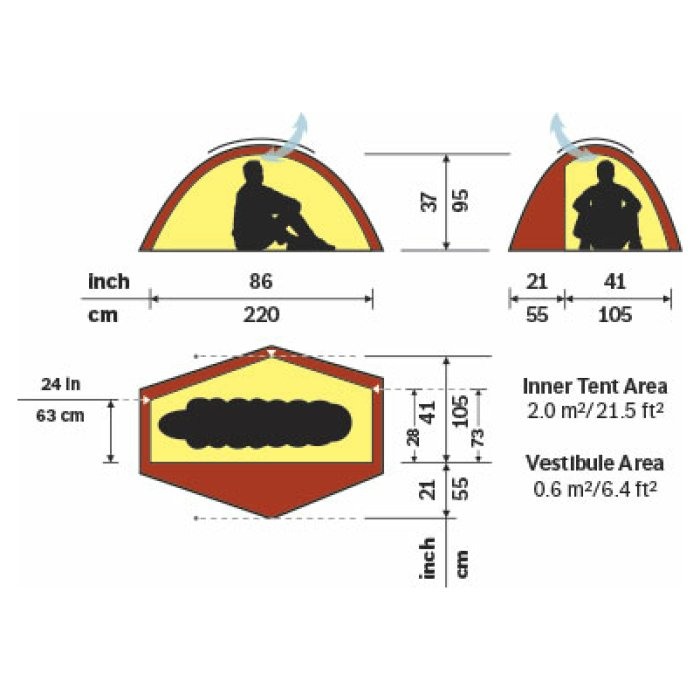 Hilleberg Soulo Sand Diagram with Dimensions