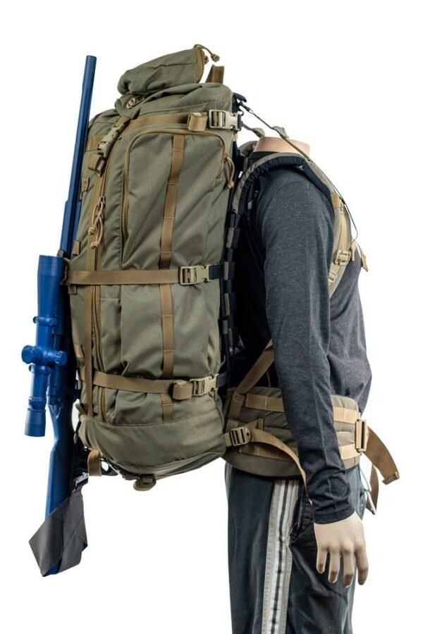 Hoodlum (6,500ci - 106L Bag only) Side View Photo of Ranger Green Color with Rifle Attached While Being Worn on Mannequin