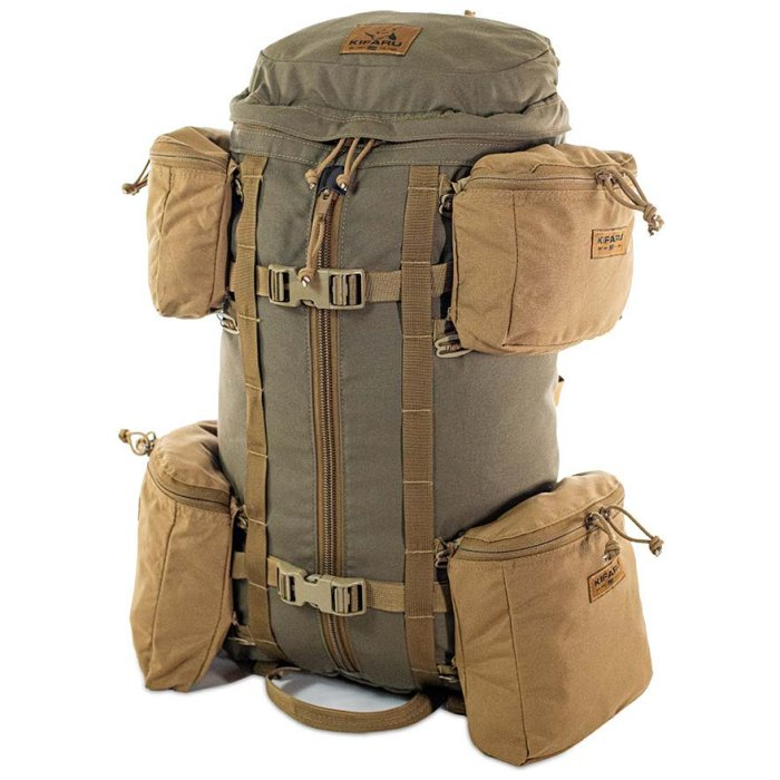 Kifaru International 14'r (2,400ci - 39.3Liters) Diagonal Photo of Coyote Brown Color with Extra Attachment Bag to the Sides on Top and Bottom