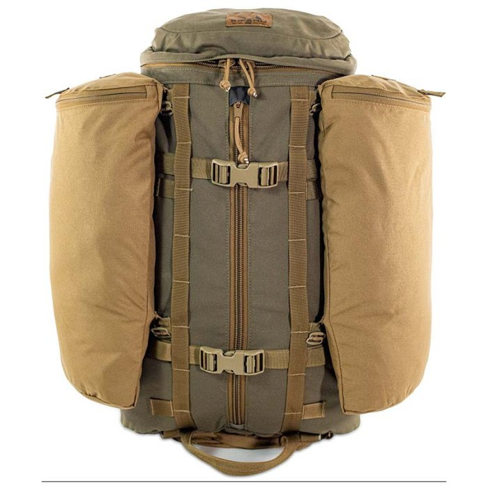 Kifaru International 14'r (2,400ci - 39.3Liters) Frontal Photo of Ranger Green Color with Big Attachment Bags to the Sides