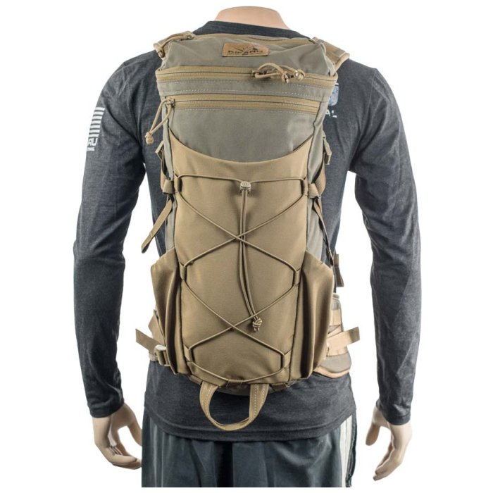 Kifaru International Door Gunner 1000ci - 16.38L Back View of Pack Being Worn By Mannequin with Gray Shirt Photo