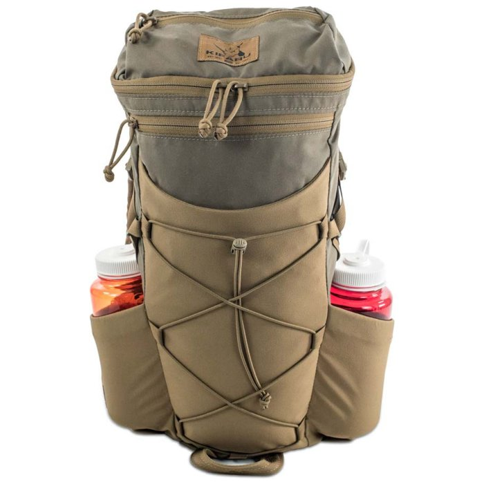 Kifaru International Door Gunner 1000ci - 16.38L Frontal View of Backpack with Water Bottles on Side Pockets Photo of Ranger Green - Coyote Brown Color