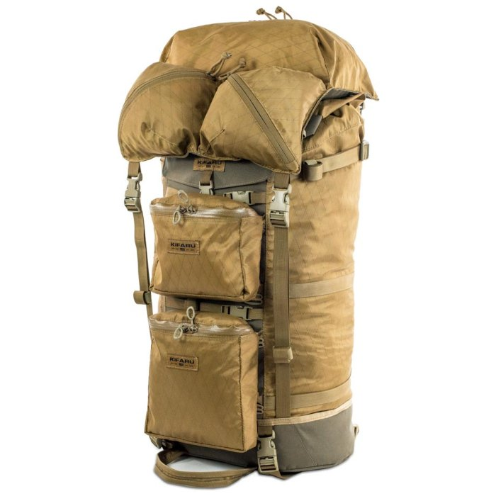 Kifaru International Muskeg (Bag Only) Fully Packed Inside and with Additional Bags in Front and Top