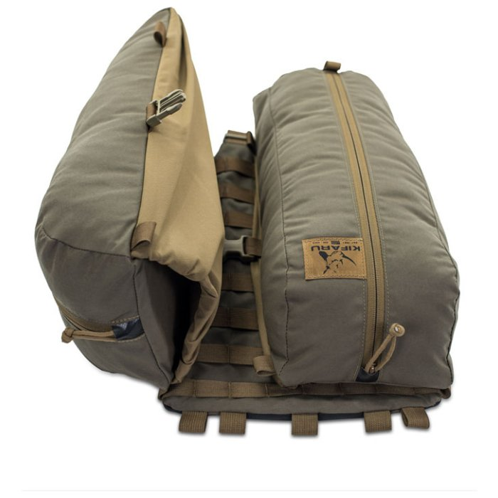 Kifaru International Nomad 2 (1,800ci - 29.5L Bag Only) Back Photo of Ranger Green Color Laying Down with one Bag Open