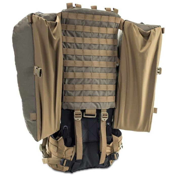 Kifaru International Nomad 2 (1,800ci - 29.5L Bag Only) Diagonal Back Photo of Ranger Green Color with Bags Expanded