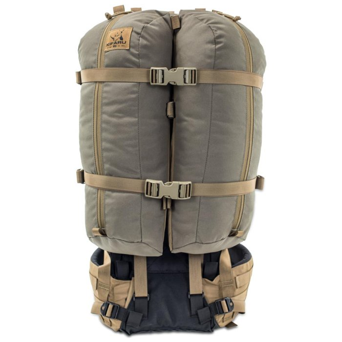 Kifaru International Nomad 2 (1,800ci - 29.5L Bag Only) Frontal Photo of Ranger Green Color with Extra Bags Strapped to it
