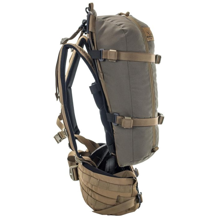 Kifaru International Nomad 2 (1,800ci - 29.5L Bag Only) Side View Photo of Ranger Green Color with Bags Strapped to the Back