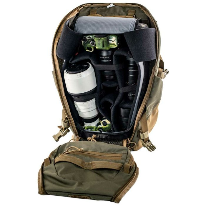 Kifaru International Shape Charge (2,050 ci - 33.5 liters) Diagonal Photo of Ranger Green Color with Stuff Inside Nicely Packed