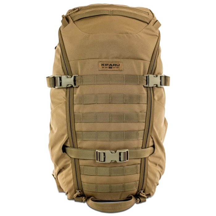 Kifaru International Shape Charge (2,050 ci - 33.5 liters) Frontal Photo of Coyote Brown Color with Straps Putaway