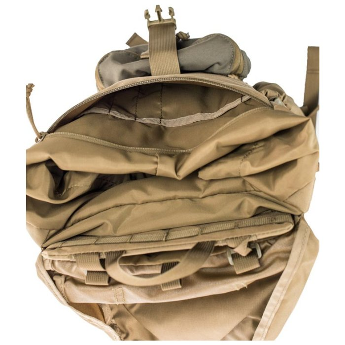 Kifaru International Urban Ruck (1,400ci - 22.9L - 1,700ci - 27.8L) Above Photo of Coyote Brown Color Pack with Top Closed