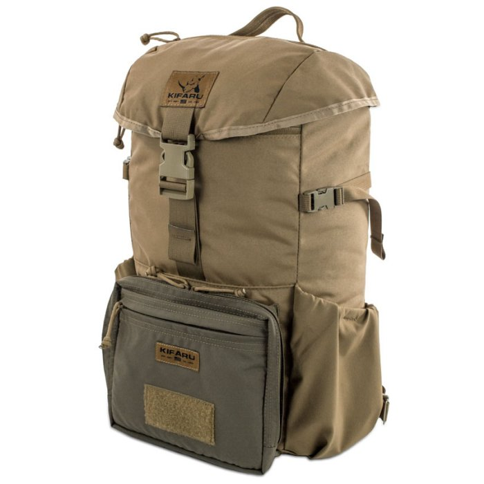 Kifaru International Urban Ruck (1,400ci - 22.9L - 1,700ci - 27.8L) Diagonal Photo of Coyote Brown Color Pack with Top Closed and Small Front Bag