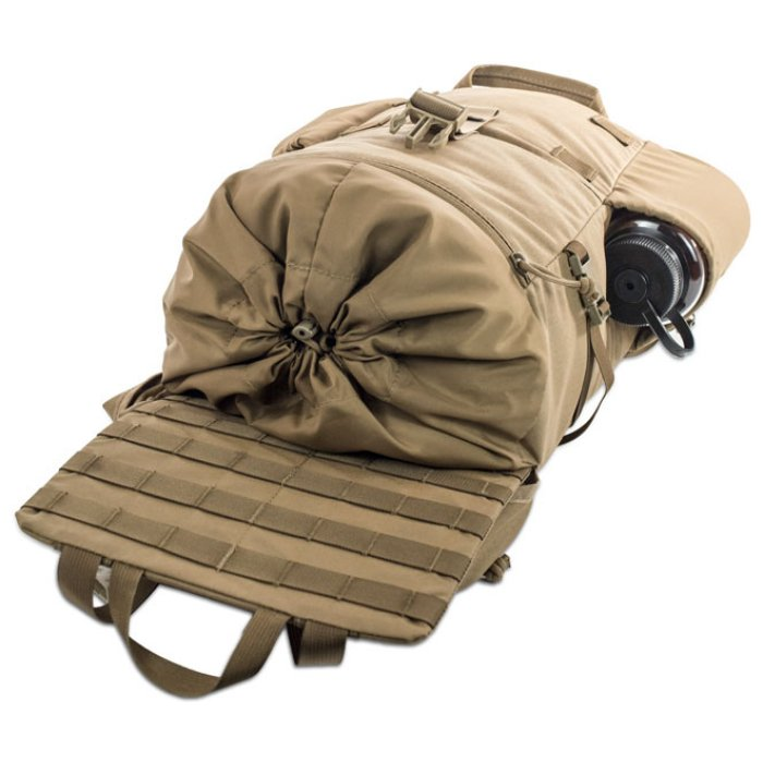 Kifaru International Urban Ruck (1,400ci - 22.9L - 1,700ci - 27.8L) Diagonal Photo of Coyote Brown Color Pack with Top Extended and Pack Laying Down