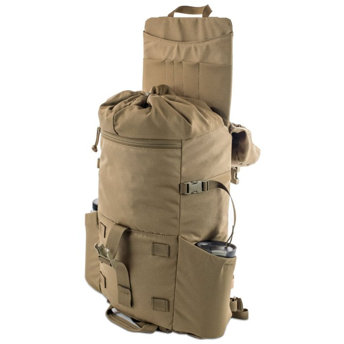 Kifaru International Urban Ruck (1,400ci - 22.9L - 1,700ci - 27.8L) Diagonal Photo of Coyote Brown Color Pack with Unstrapped Top and Lid Extended Up