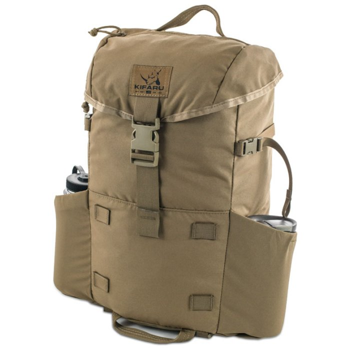 Kifaru International Urban Ruck (1,400ci - 22.9L - 1,700ci - 27.8L) Diagonal Photo of Coyote Brown Color Pack with Water Bottles on Side Pockets with Closed Top Strap