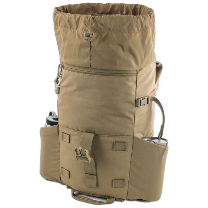 Kifaru International Urban Ruck (1,400ci - 22.9L - 1,700ci - 27.8L) Diagonal Photo of Coyote Brown Color Pack with Water Bottles on Side Pockets with Open Top