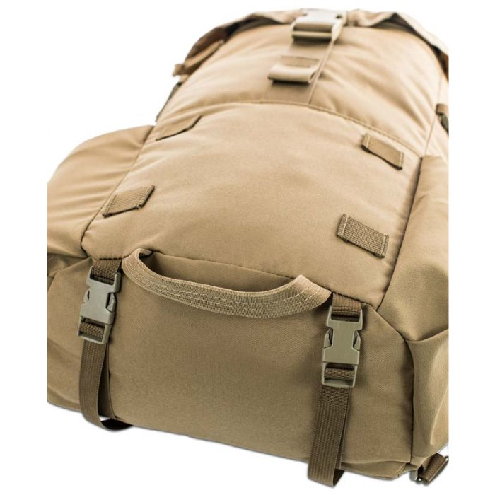 Kifaru International Urban Ruck (1,400ci - 22.9L - 1,700ci - 27.8L) Photo of Coyote Brown Color Pack Laying Down