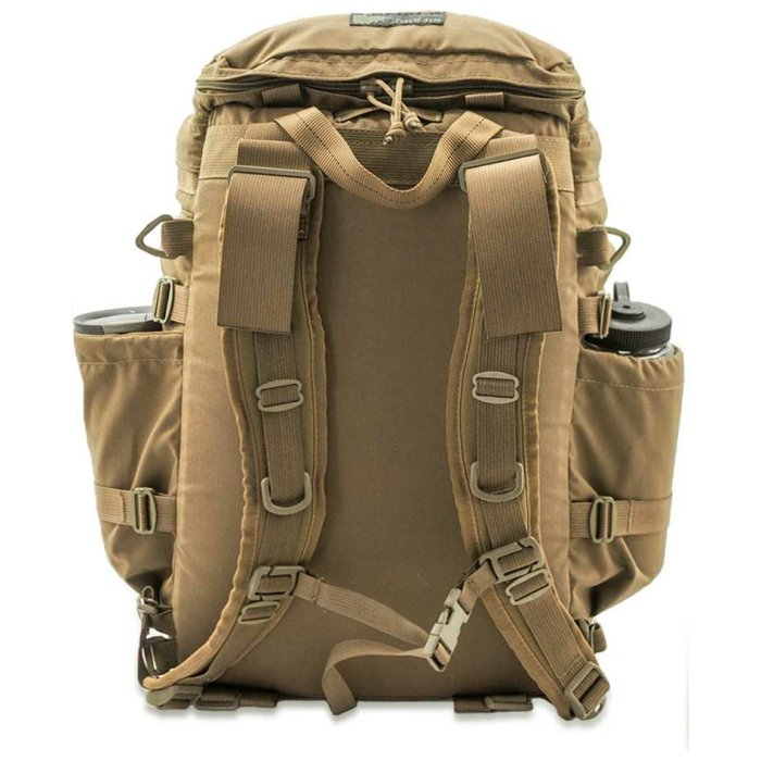 Kifaru International Urban Zippy (1,500ci - 24.58Liters) Back View with Straps Visible Photo of Coyote Brown Color