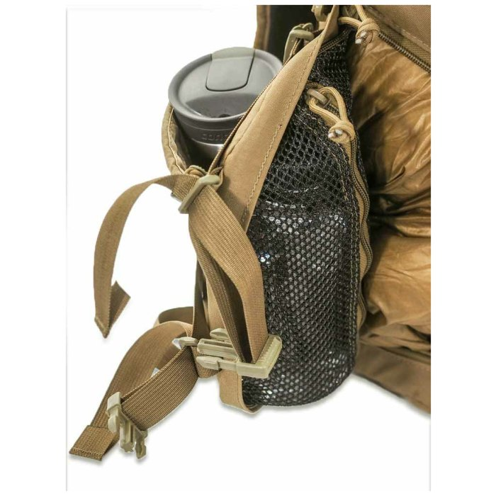 Kifaru International Urban Zippy (1,500ci - 24.58Liters) Close Up Photo of Coyote Brown Color Side Pocket with Water Bottle