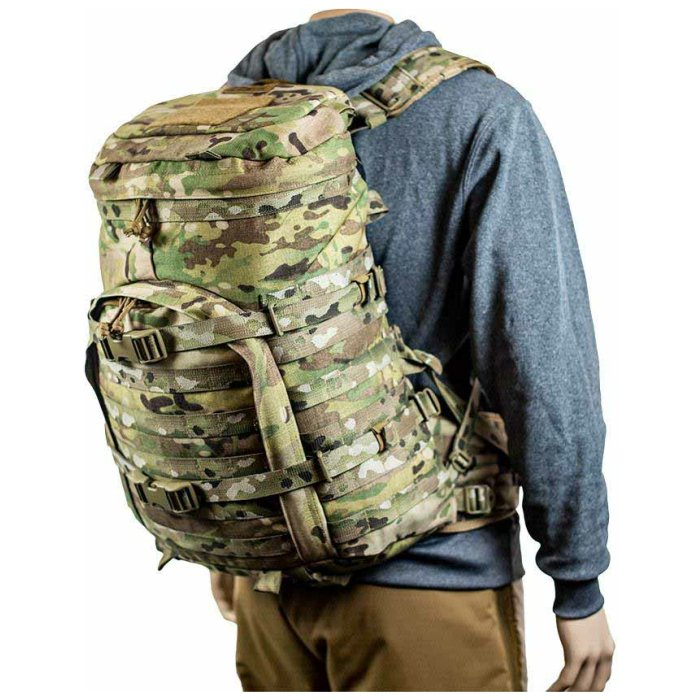 Kifaru International X-Ray (2,000ci-32.7 liters) Diagonal Back View Photo of Multicam Color Being Worn on Mannequin