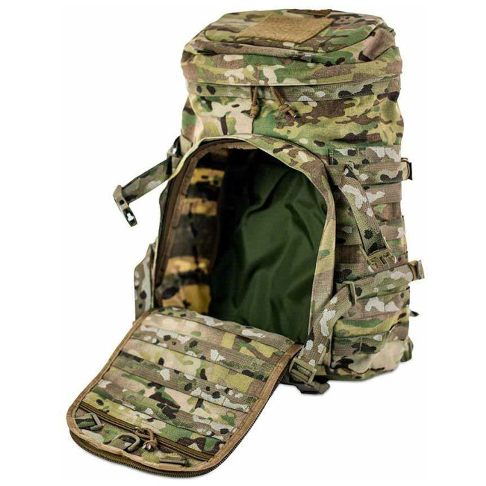 Kifaru International X-Ray (2,000ci-32.7 liters) Front Photo of Multicam Color with Front Smaller Zipper Open