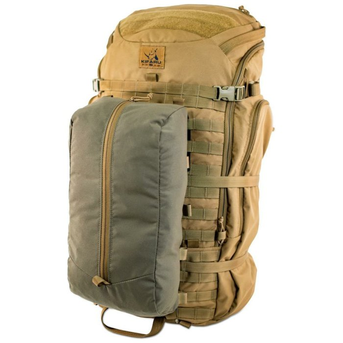 Large Compression Pocket Frontal Photo of Ranger Green Color Being Attached to Pack