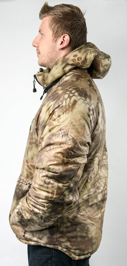Lost Park Parka photo in highlander color from a side view with person visible