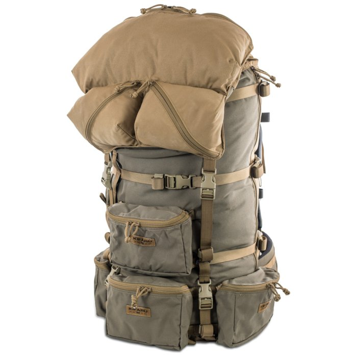 Organizer Guide Lid Diagonal Photo of Coyote Brown Color with Lids on Top of Ranger Green Pack