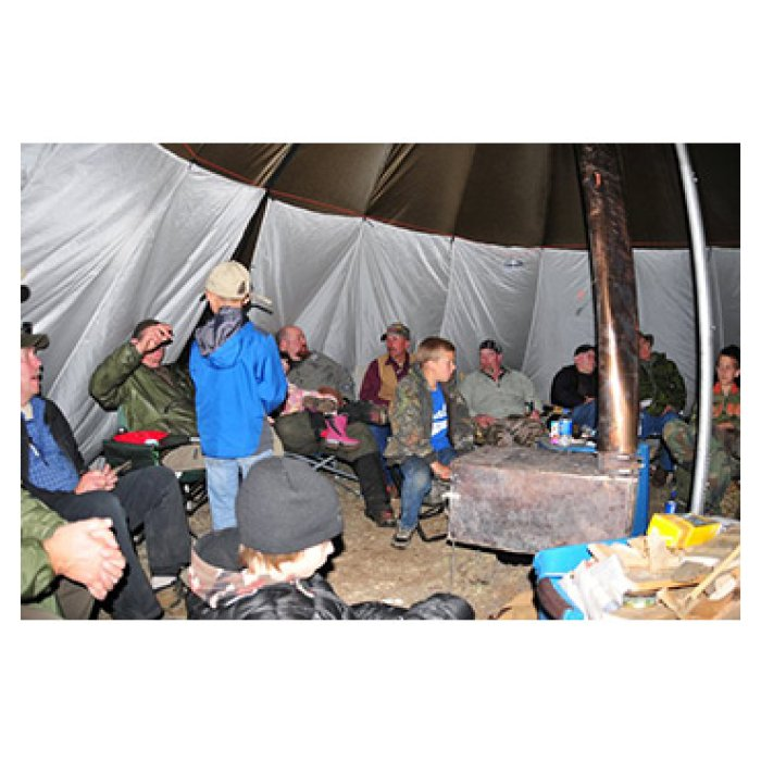 Shelter Liner Photo with Multiple people including kids inside the tent