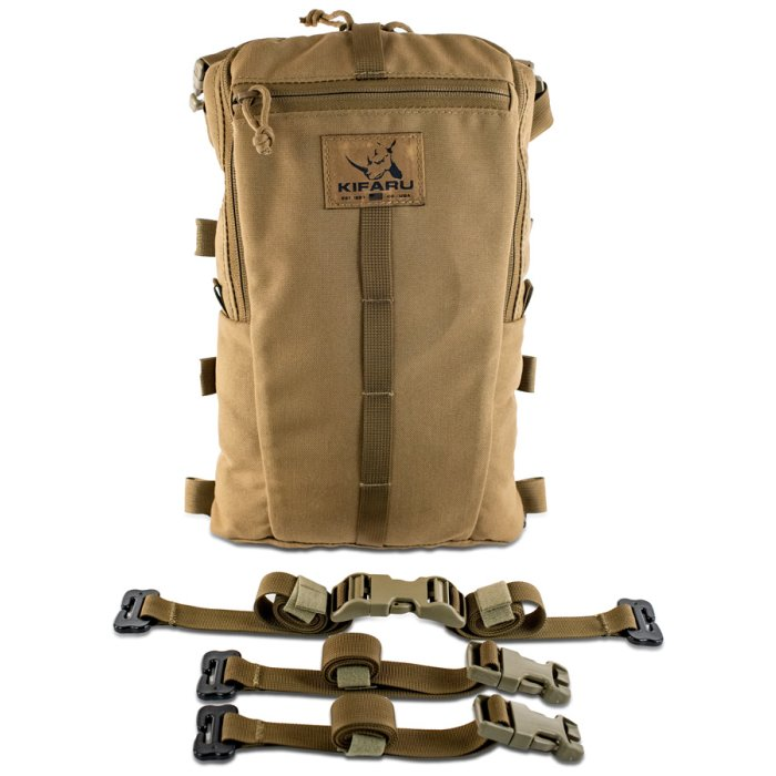 Sherman Pocket Diagonal Photo of Coyote Brown Color with Straps Visible