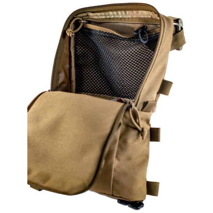 Sherman Pocket Photo of Coyote Brown Color with Main Zipper Open and Interior Netting Visible